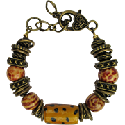 Bracelet with Cheetah Spots and Tiger Stripe Beads with Spotted Lampwork Focal