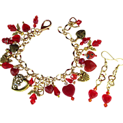 Hearts and Angels Charm Bracelet in Red and Gold Colors with Matching Earrings