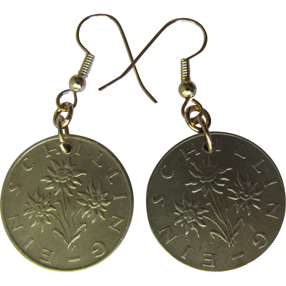 Edelweiss Earrings from Vintage Austrian Schilling Coins dated 1983 and 1964