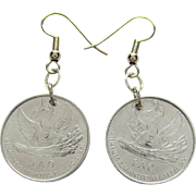 Angel Coin Earrings of Andorra One Centim Coins dated 1999