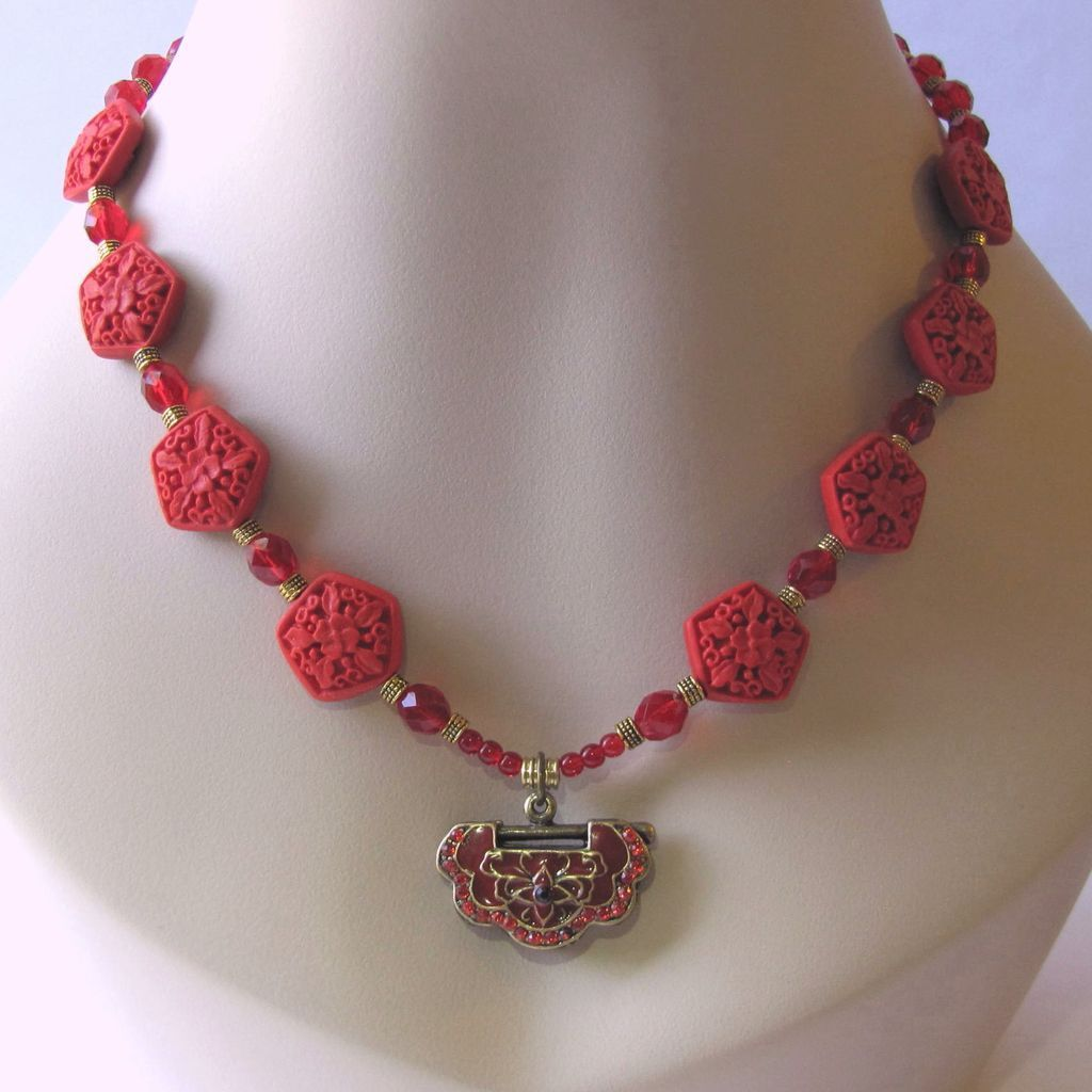 Vibrant Red Cinnabar Necklace with Red Pendant and Fire-Polished Beads