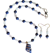 Rough-Cut Lapis Lazuli Pendant Necklace with Lapis Lazuli and Moonstone Beads and Earrings