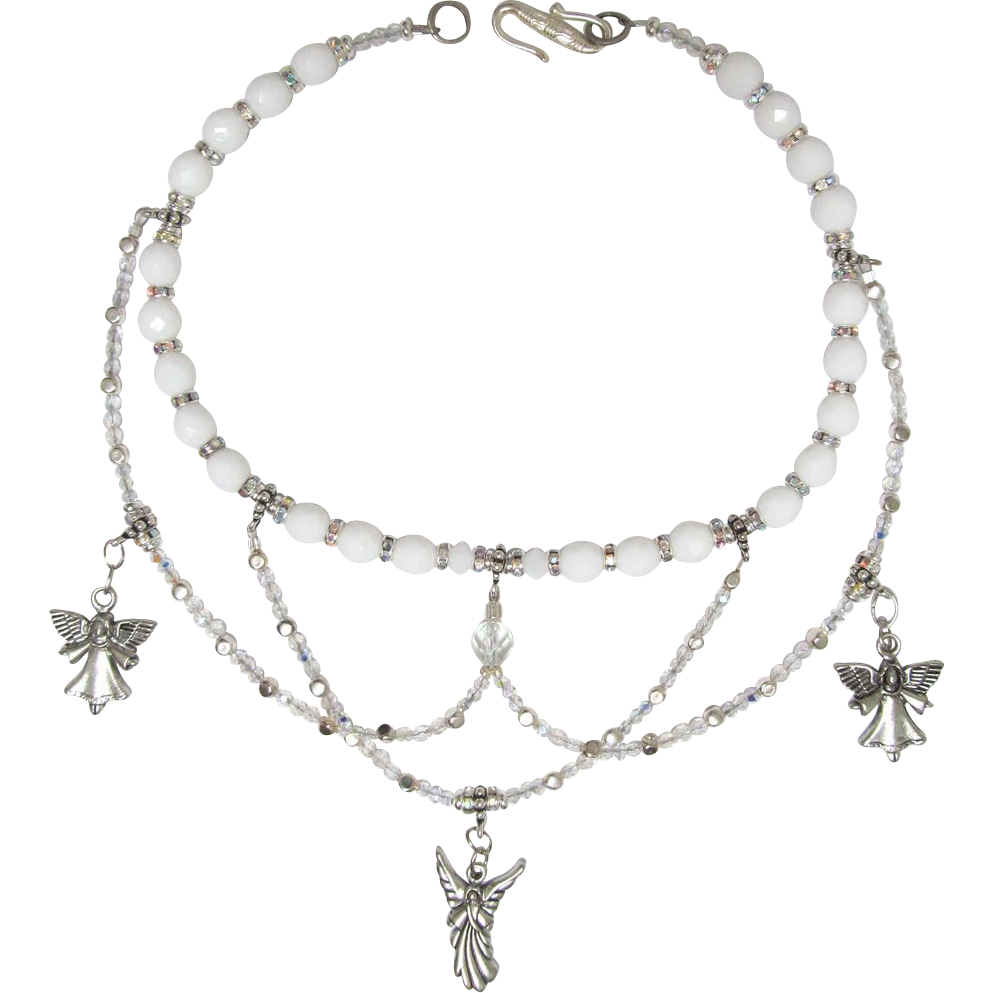 White Angel Choker with Swirls of Swarovski Xilion Crystals and Sparkling Beads with Earrings