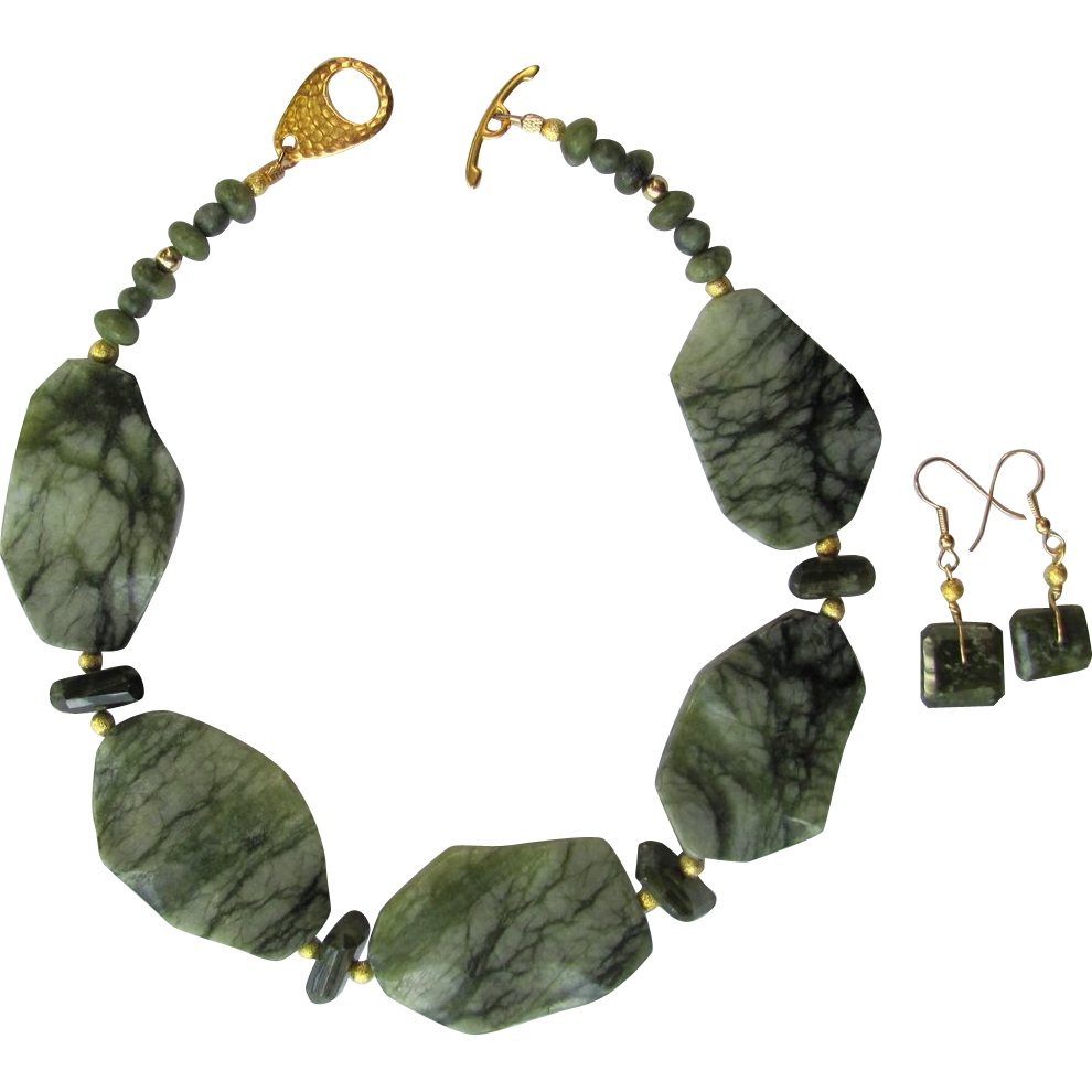 Jungle Jasper Choker with Grossular Garnet Accents and Matching Earrings