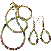 Rainbow Tourmaline and Peridot Choker and Earrings with Gold Stardust and Gold Vermeil Accents