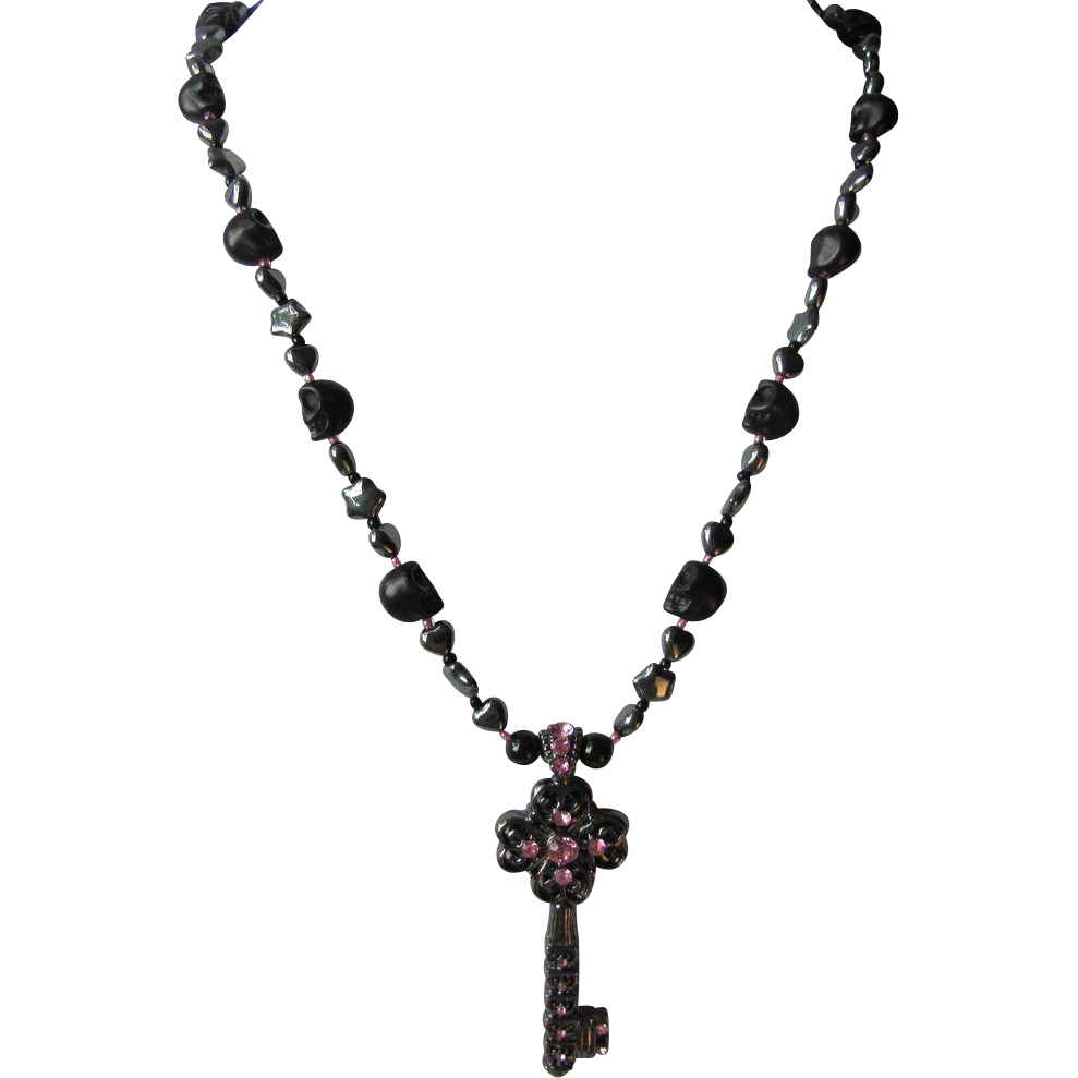 Key Pendant Necklace in Black with Skulls – Hearts – Pink Rhinestones – Matching Earrings