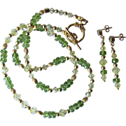 Faceted Peridot with Swarovski Crystals on Choker with Corrugated Gold Beads and Matching Earrings