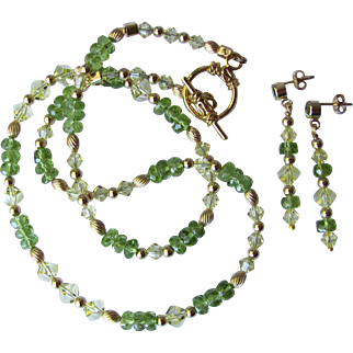 Faceted Premium Peridot and Swarovski Crystal Choker and Necklace with Gold Accents