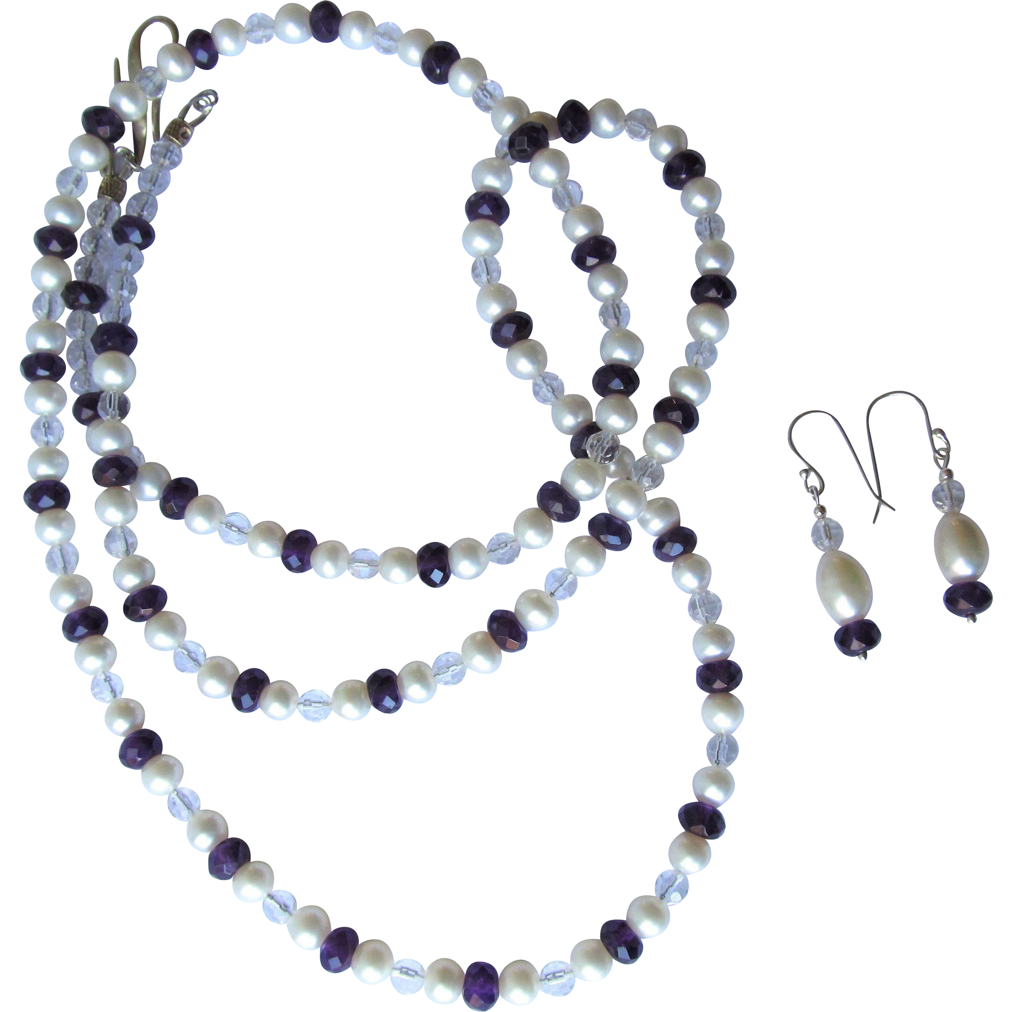Amethyst and Pearl Necklace with Rock Quartz Crystal Accents - Extra Long - Matching Earrings
