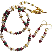 Gemstone Choker and Earrings of Ruby – Emerald – Rock Crystal – Gold Vermeil