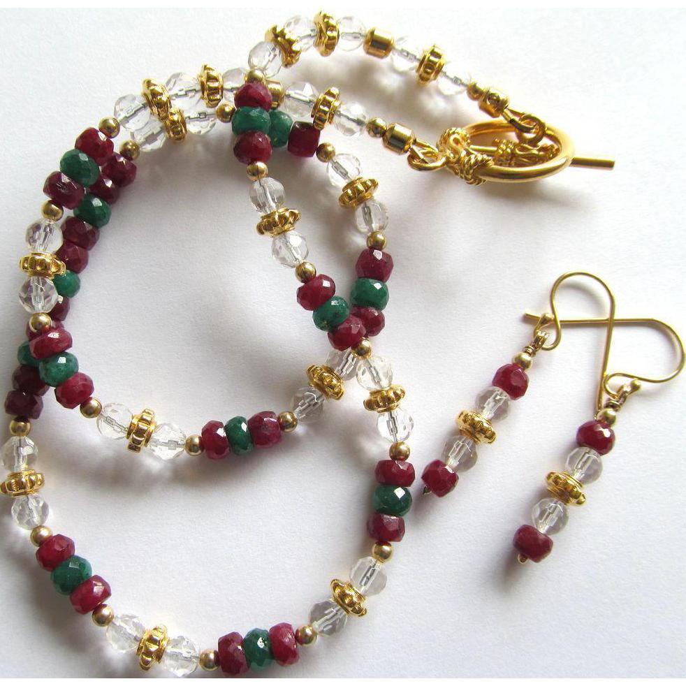 Gemstone Choker and Earrings of Ruby – Emerald – Rock Crystal – Gold Vermeil