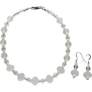 Choker of Frosted Rock Quartz - Faceted Quartz Crystal  - Moonstone - Matching Earrings