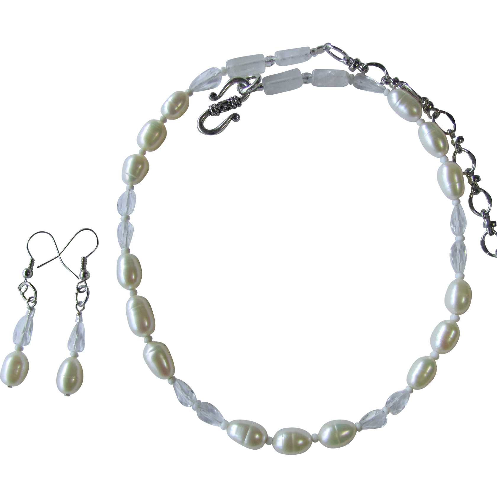 White Freshwater Pearl Choker with Faceted Quartz Teardrop Crystals and Matching Earrings