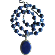 Lapis Lazuli Pendant on Necklace of Lapis Lazuli – Magnesite Stars – Swarovski Crystals – Sterling Silver
