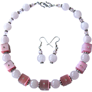 Pink Choker with Rose Quartz and Square Cats Eye Beads with Crystals and Earrings