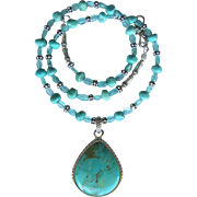 Turquoise Pendant on Necklace of Nevada Turquoise and Apatite with Sterling Silver Accents