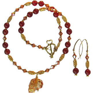 Carnelian and Swarovski Crystals Necklace and Earrings with Gold Vermeil and Unique Swarovski Pendant