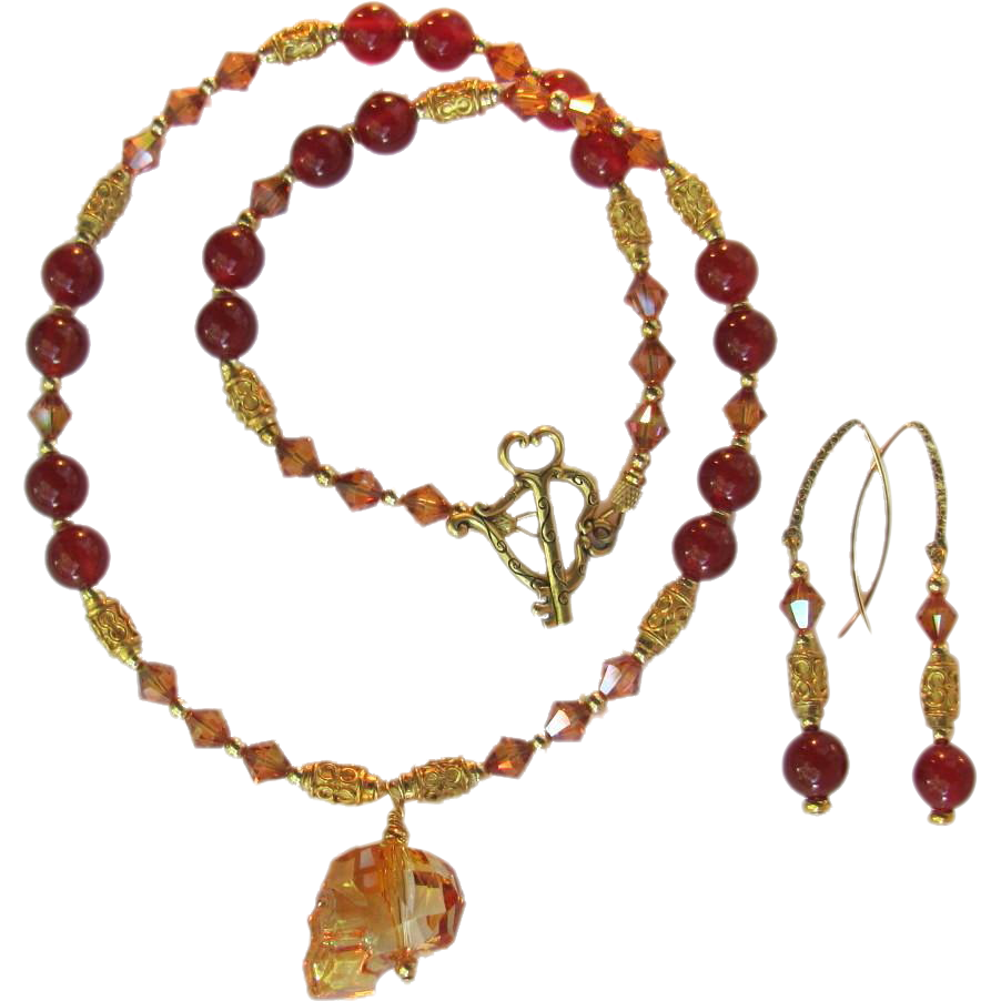 Carnelian and swarovski crystals necklace with swarovski skull carnelian and swarovski crystals necklace with swarovski skull pendant and gold vermeil with earrings mozeypictures Images