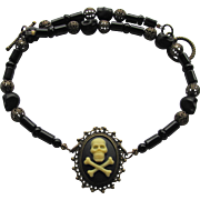 Skull Cameo Choker with Black Agate – Filigreed Beads – Black Skull Beads – Matching Earrings