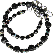 Choker of Black Skulls and Onyx with Sparkling Rhinestones - Adjustable Length - Matching Earrings