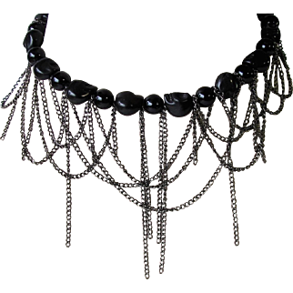 Black Choker of Draped Chain and Fringe with Black Riverstone and Skull Beads