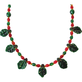 Holly Christmas Choker with Hand-crafted Holly Leaves and Holly Charm Earrings