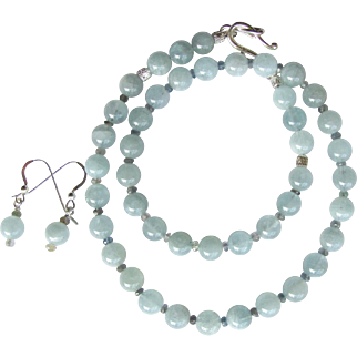 Aquamarine Choker with Tiny Faceted Sapphire Accents and Matching Earrings