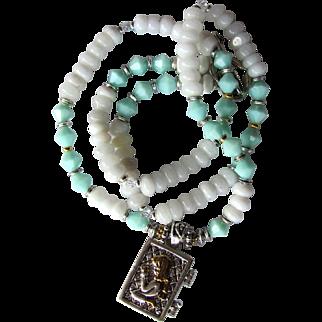Angel Locket on Long Necklace of White Quartz and Mint Blue Swarovski Crystals