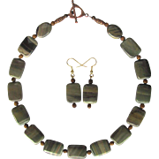 Silver Leaf Jasper Choker with Corrugated Bead Accents and Copper Clasp