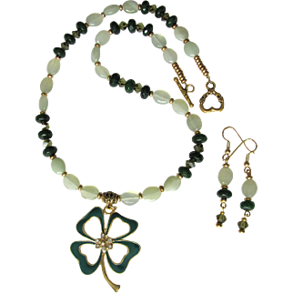 Shamrock Pendant with Swarovski Crystals on Necklace of Serpentine and Crystals with Earrings