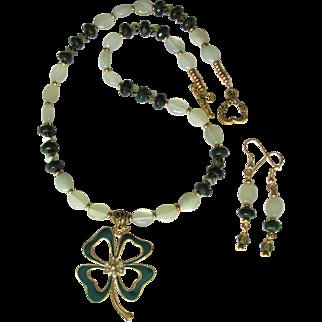 Shamrock Pendant with Swarovski Crystals on Necklace of Serpentine and Swarovski Crystals with Earrings