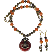 Carnelian Dragon Pendant on Necklace with Carnelian and Filigreed Beads – Dragon Earrings