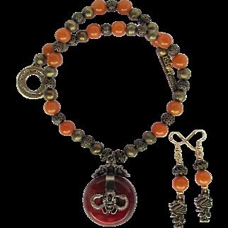 Carnelian Dragon Pendant on Necklace with Carnelian and Filigreed Beads – Dragon Earrings