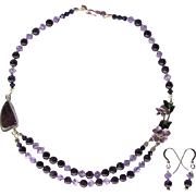Two-Strand Amethyst and Swarovski Crystal Choker with Amethyst Accent and Enameled Flowers
