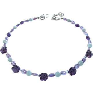 Amethyst and Aquamarine Choker with Carved Amethyst Flowers and Hill Tribes Silver Extender Chain