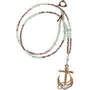 Long Anchor Pendant Necklace with Sparkling Crystals - Glass Pearls – Rose Gold and White Colors