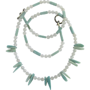 Long Necklace of Amazonite and Snow Quartz Beads with Amazonite Stick Beads – Matching Earrings