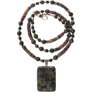 Dragon Blood Pendant on Necklace of Garnet – Peridot – Tourmaline – Dragon Blood – Sterling Silver