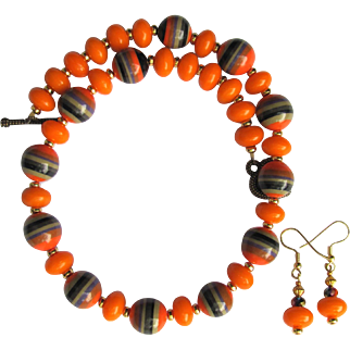 Necklace in Orange and Tangerine with Black and Orange Striped Beads and Tangerine Rondelles