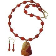 Banded Agate Pendant in Shades of Caramel and Butterscotch on Carnelian and Agate Necklace