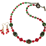 Red and Green Necklace with Large Swarovski Crystals and Lampwork Beads – Matching Earrings