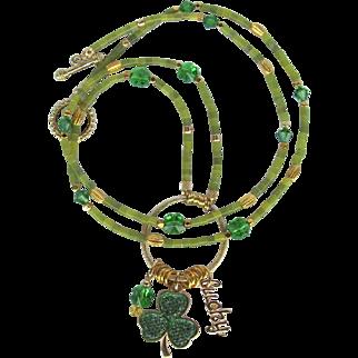 Long Shamrock Charm Necklace with Shamrock Focal – Swarovski Crystal Clovers – Serpentine Beads