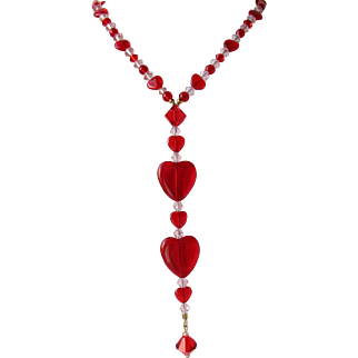 Long Lavalier Necklace with Red Hearts and Swarovski Crystals – Matching Earrings