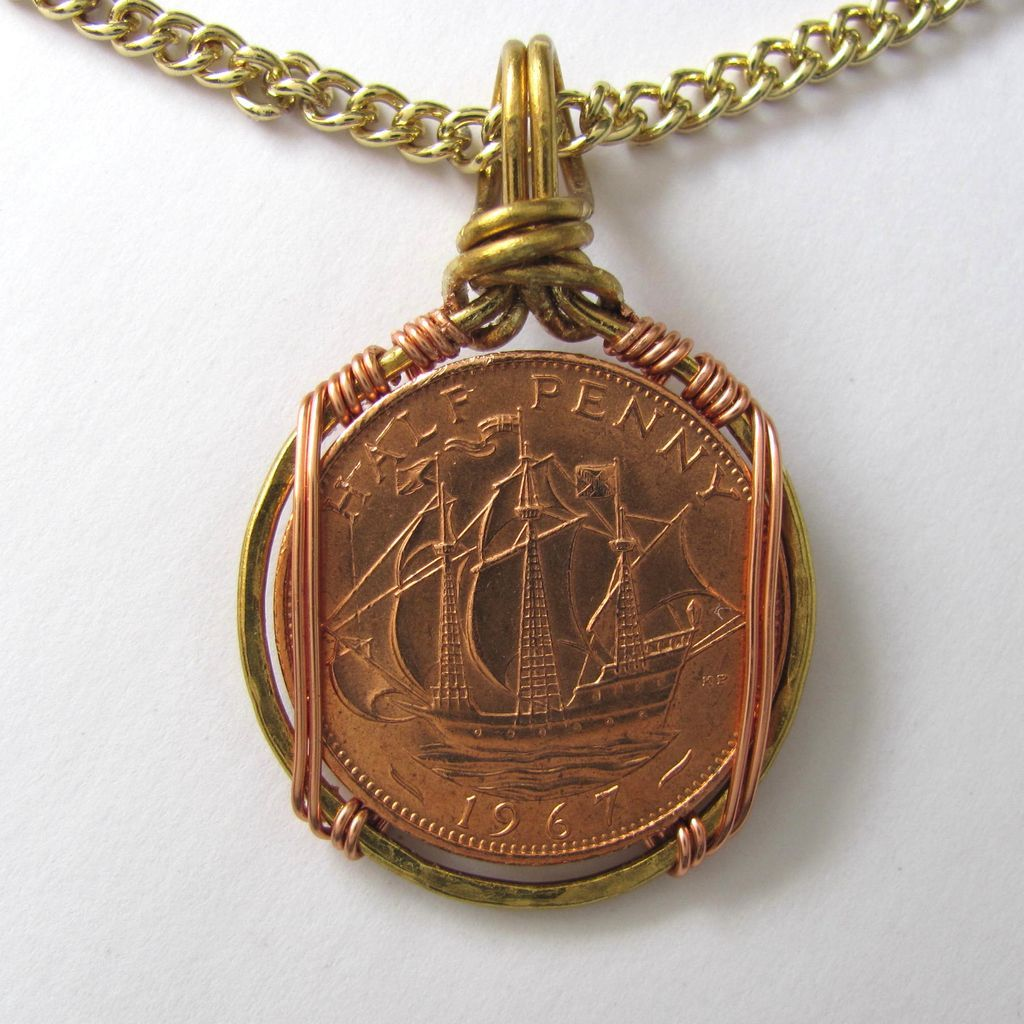 mens necklace with ship in sail half coin