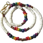 White Heishi Choker with Rainbow Colors and Goldstone Accents
