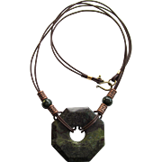 Men's Necklace with Large Dragon Blood Jasper Pendant and Green and Copper Accents