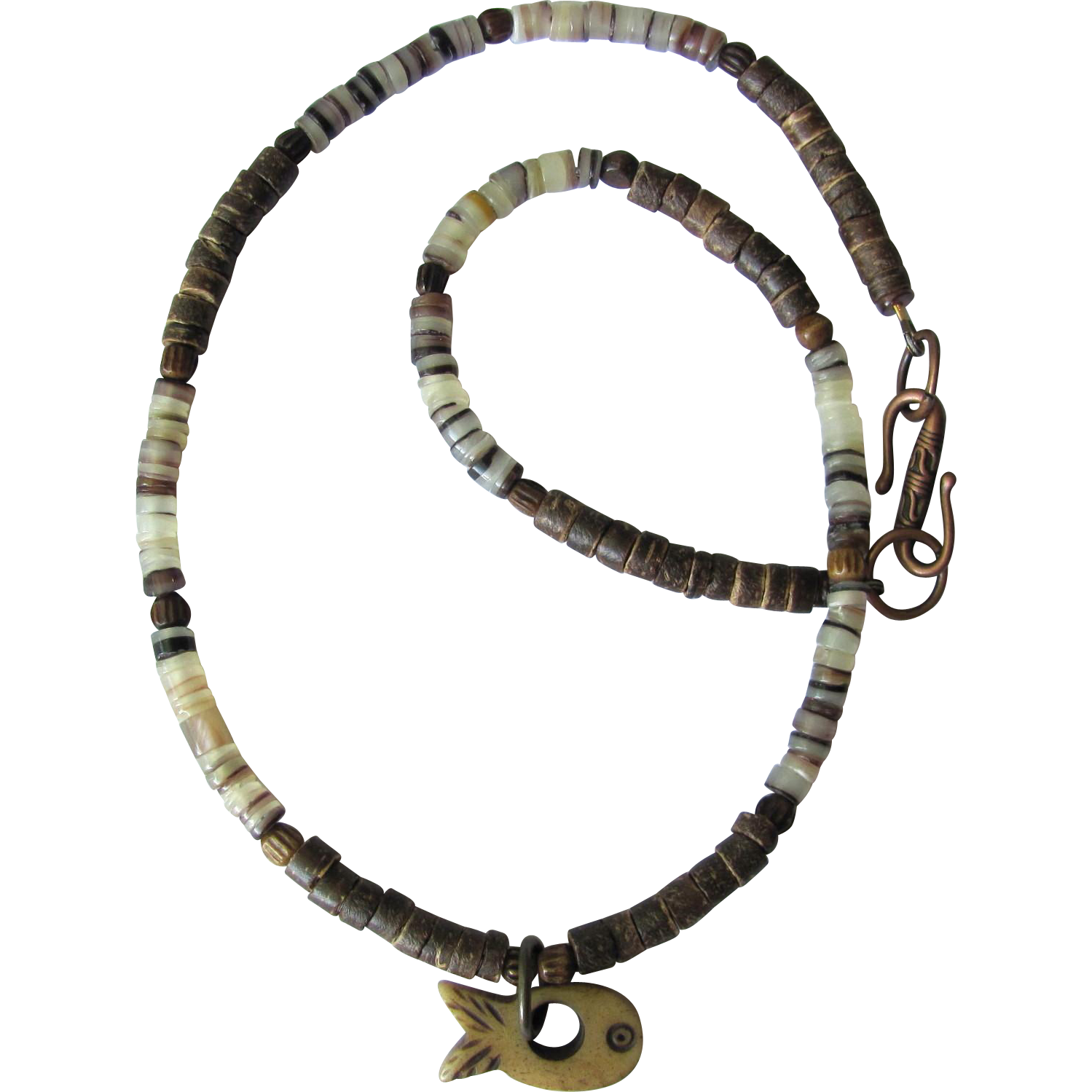 Choker with Carved Fish Focal and Hammershell and Coco Heishi Beads