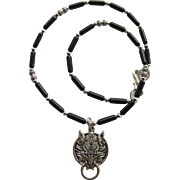 Wolf Pendant on Men's Necklace of Black Obsidian with Silver-Tone Accents