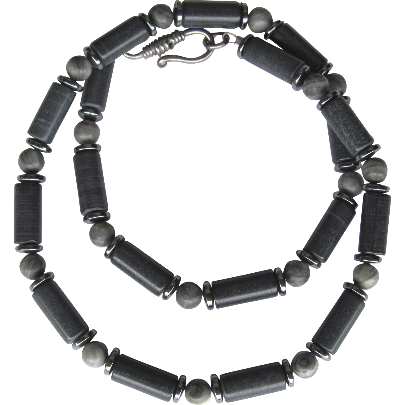 Men's Choker of Riverstone and Marble with Hematite Accents in Grey and Black