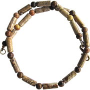Men's Choker of Picture Jasper in Desert Landscape Colors